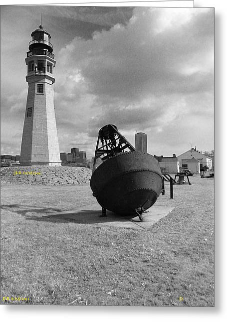 Buffalo Lighthouse And Bouy Greeting Card by Joseph Rennie