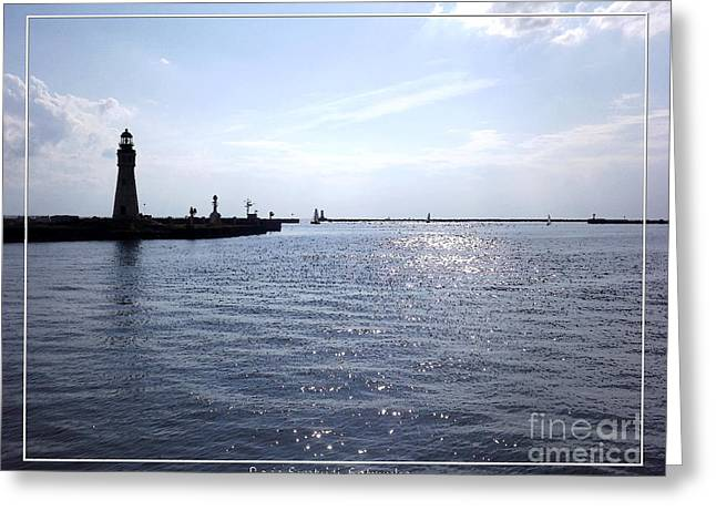 Buffalo Main Lighthouse And Buffalo Harbor Greeting Card by Rose Santuci-Sofranko