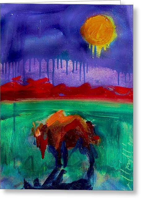 Buffalo Moon Greeting Card by Les Leffingwell