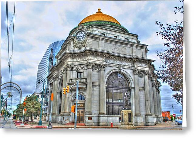 Greeting Card featuring the photograph Buffalo Savings Bank  Goldome  M And T Bank Branch by Michael Frank Jr