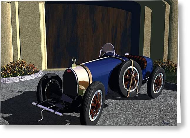 Greeting Card featuring the digital art Bugatti by John Pangia