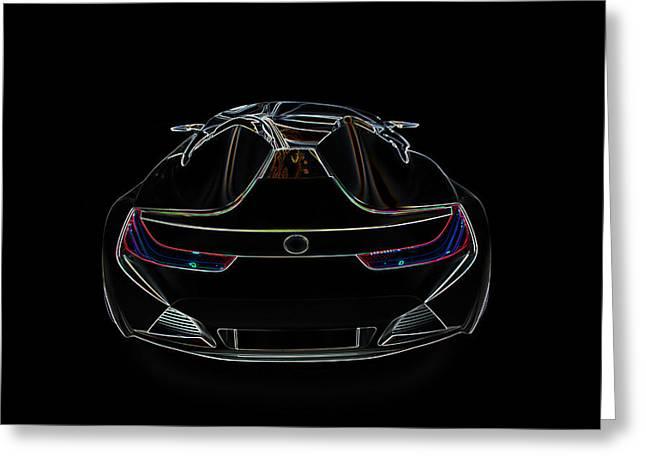 Bugatti Luxury Sport Car Illustration Greeting Card