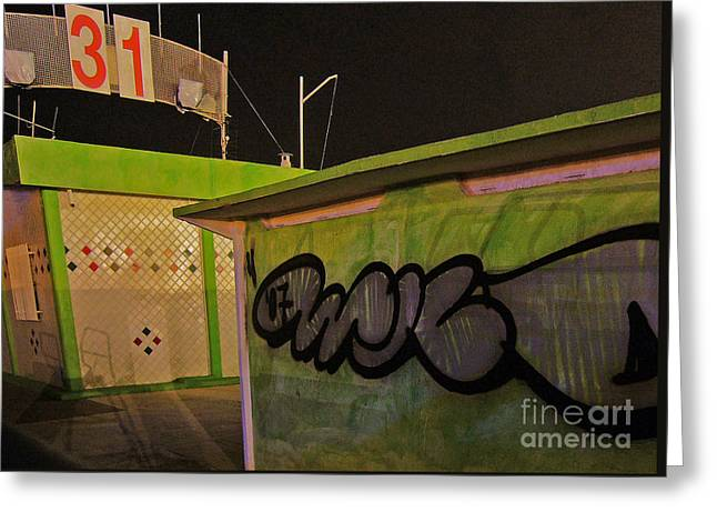 Greeting Card featuring the photograph Building 31 Rimini Beach Graffiti by Andy Prendy
