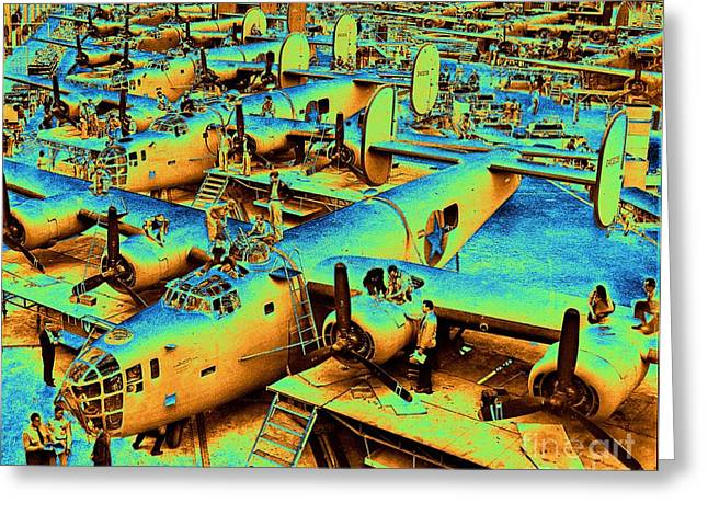 Building The B24 Fleet 1943 Greeting Card by Padre Art