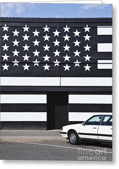 Building With An American Flag Paint Job Greeting Card by Paul Edmondson