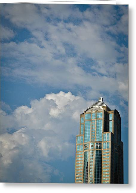 Greeting Card featuring the photograph Building With Its Head In The Clouds by Ronda Broatch