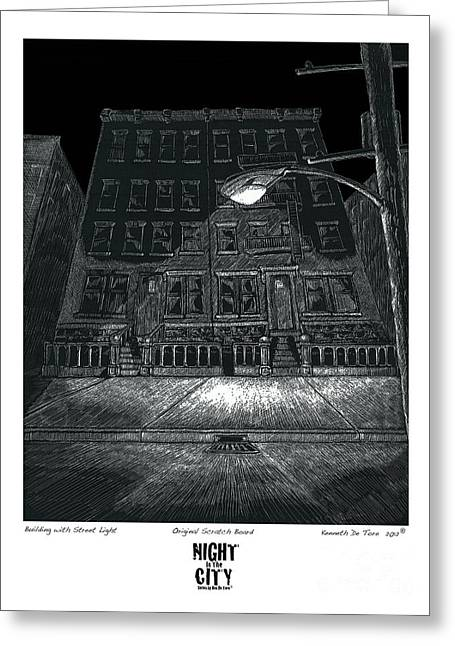 Building With Street Light Greeting Card by Kenneth De Tore