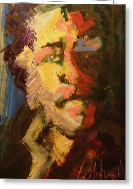 Greeting Card featuring the painting Bukowski by Les Leffingwell