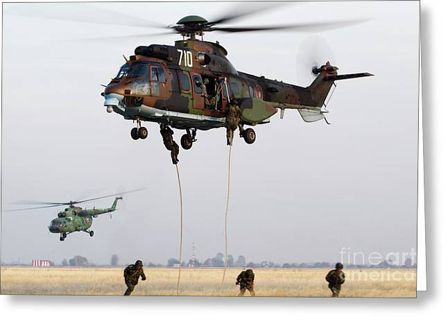 Bulgarian Special Forces Fast-roping Greeting Card