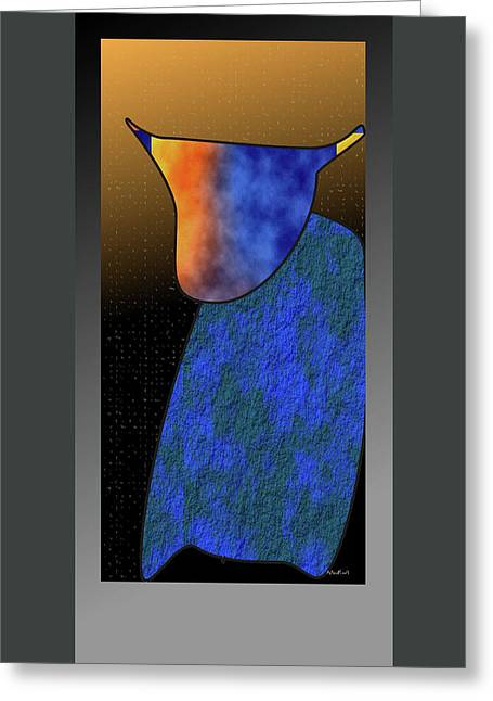 Greeting Card featuring the digital art Bull by Asok Mukhopadhyay