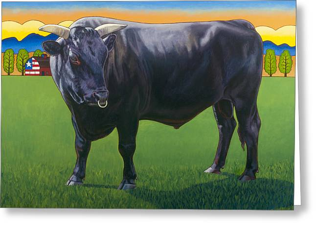 Bull Market Greeting Card by Stacey Neumiller