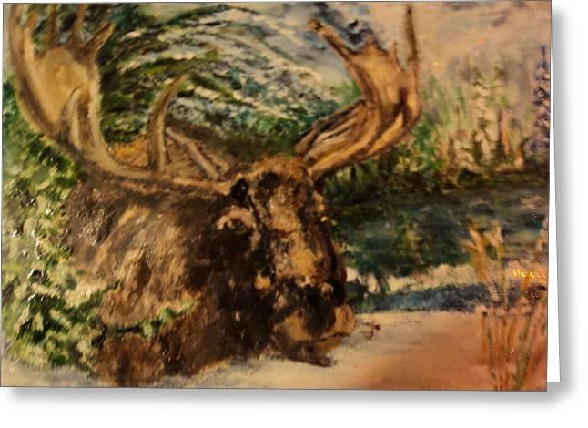 Bull Moose Greeting Card by Lynn Welker