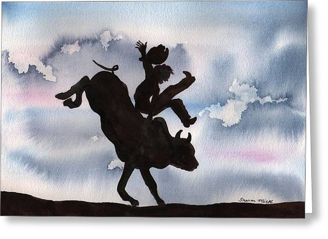 Greeting Card featuring the painting Bull Riding by Sharon Mick