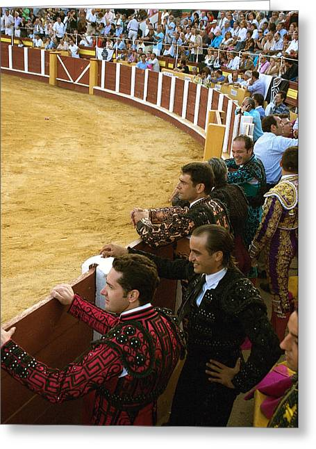 Bull Ring Arena With Toreadors Greeting Card by Perry Van Munster