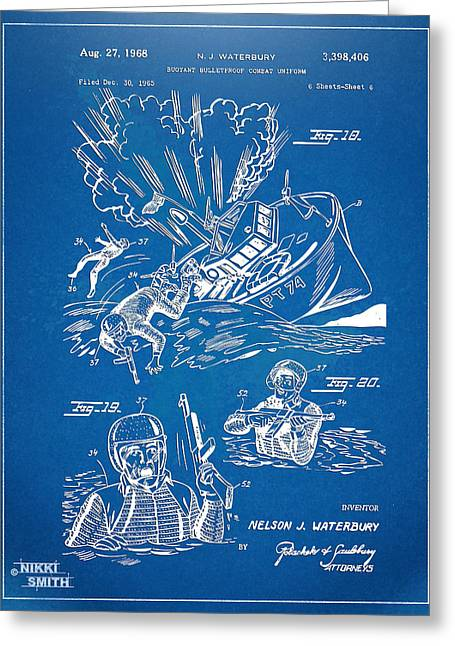 Bulletproof Patent Artwork 1968 Figures 18 To 20 Greeting Card by Nikki Marie Smith