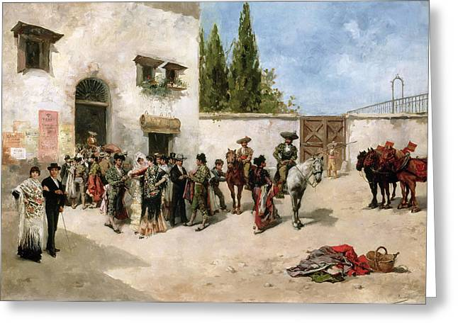 Bullfighters Preparing For The Fight  Greeting Card by Vicente de Parades