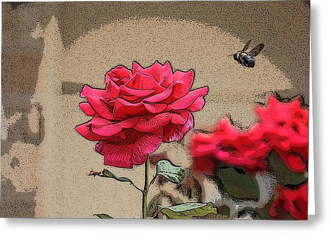Bumble Bee And Rose Greeting Card