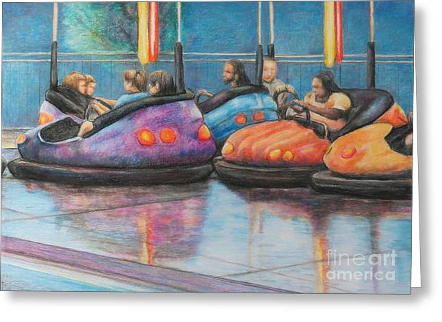 Bumper Car Traffic Jam Greeting Card by Charlotte Yealey