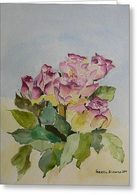 Greeting Card featuring the painting Bunch Of Roses by Geeta Biswas