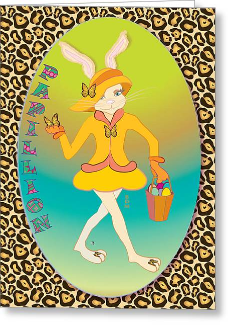 Bunnie Girls- Papillion- 4 Of 4 Greeting Card by Brenda Dulan Moore