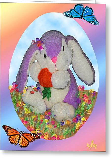 Bunny And Strawberry Greeting Card