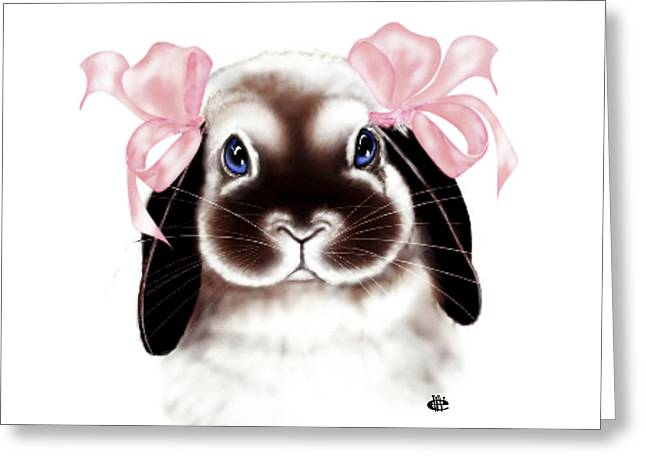 Bunny Greeting Card by Elaine VanWinkle