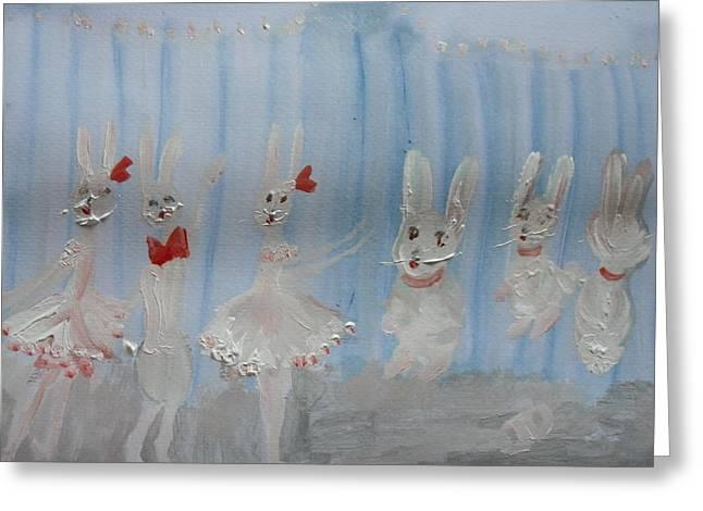 Bunny Hop Ballet Greeting Card by Judith Desrosiers
