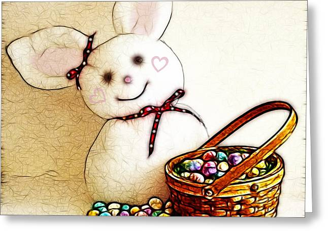 Bunny N Eggs Wall Art Greeting Card