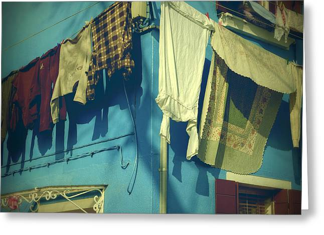 Burano - Laundry Greeting Card by Joana Kruse