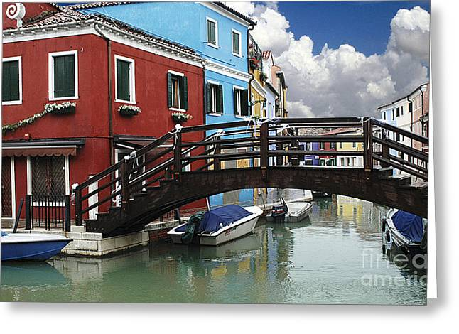 Burano Bridge And Canal Greeting Card