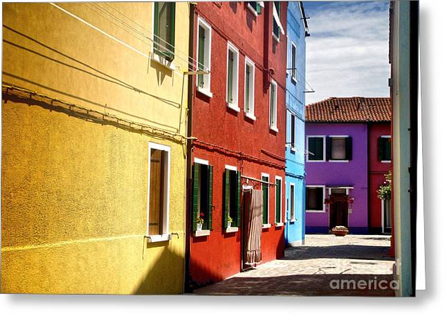 Burano Island - Colorful Houses Greeting Card by Gregory Dyer