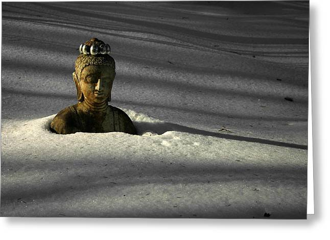 Buried Buddha Greeting Card by Christine Gauthier