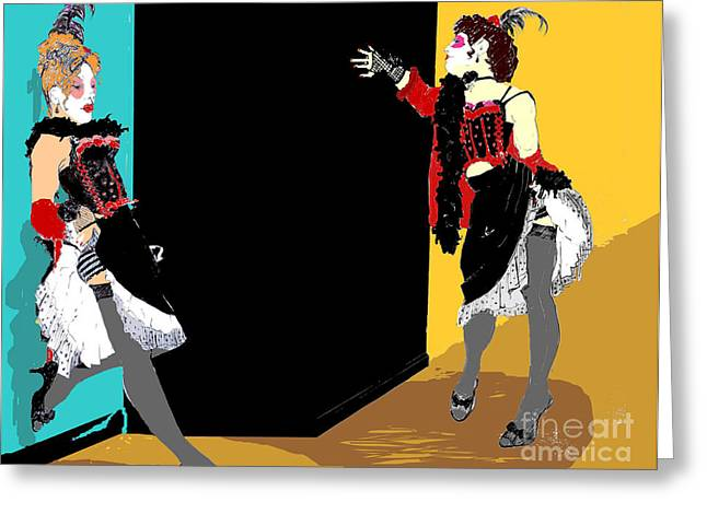 Burlesque Showgirls Greeting Card by Joanne Claxton