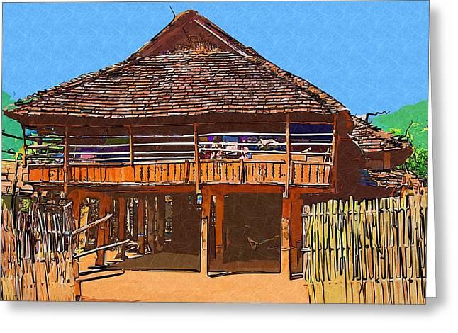 Burmese Village House Greeting Card by Fran Woods
