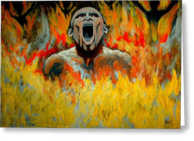 Burning In Hell Greeting Card by Anthony Renardo Flake