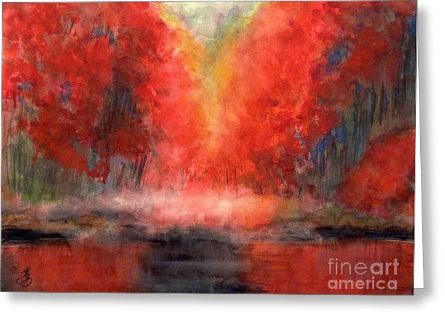 Burning Lake Greeting Card by Yoshiko Mishina