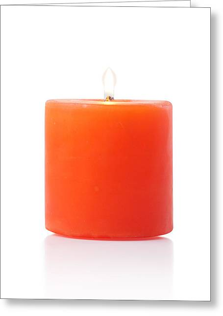 Burning Red Candle Greeting Card