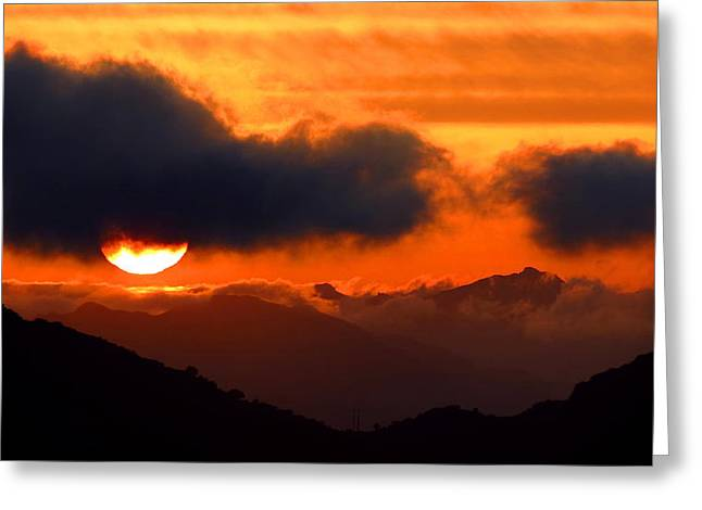 Burning Sunset  Greeting Card by Catherine Natalia  Roche
