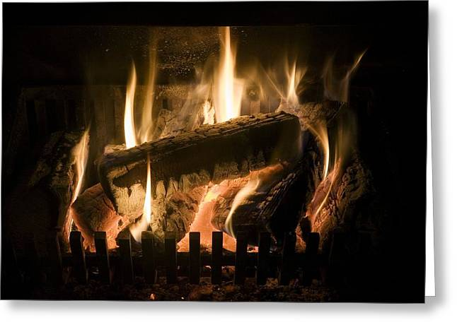 Burning Wood On An Open Fire Greeting Card by Sheila Terry