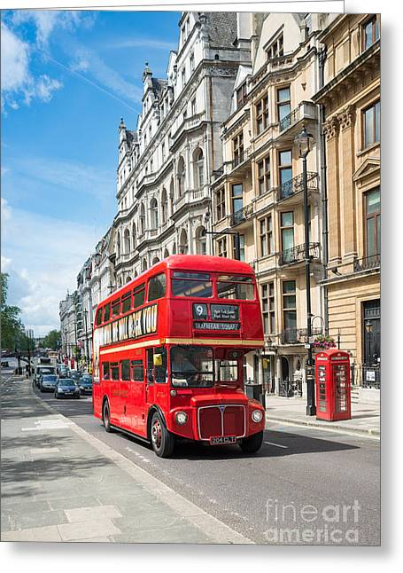 Bus On Piccadilly Greeting Card by Andrew  Michael
