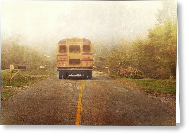 Bus Stop Greeting Card by Kathy Jennings