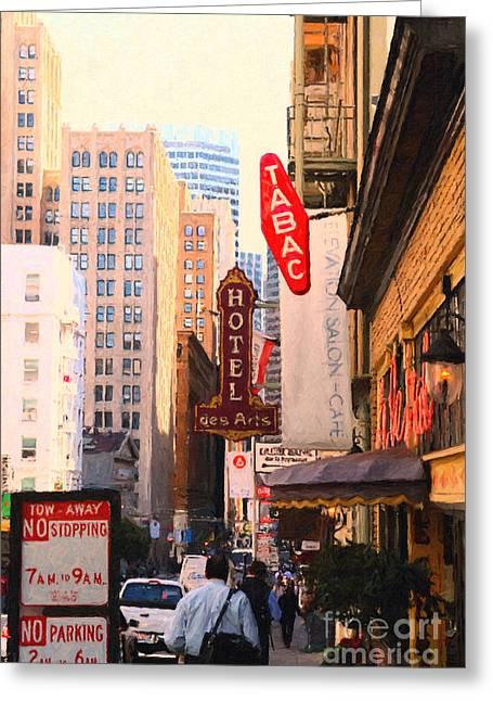 Bush Street In San Francisco Greeting Card by Wingsdomain Art and Photography