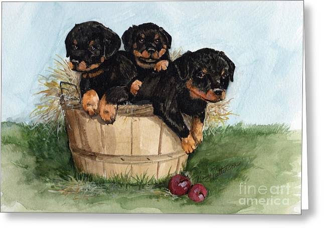 Greeting Card featuring the painting Bushel Of Rotty Pups  by Nancy Patterson
