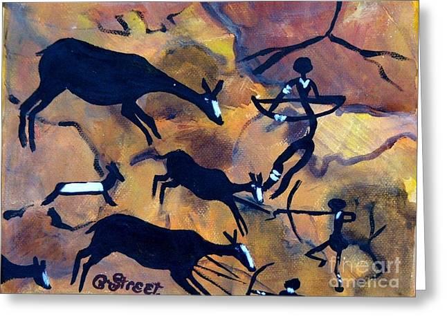 Bushmen Rock Art No 1 The Hunt Greeting Card by Caroline Street