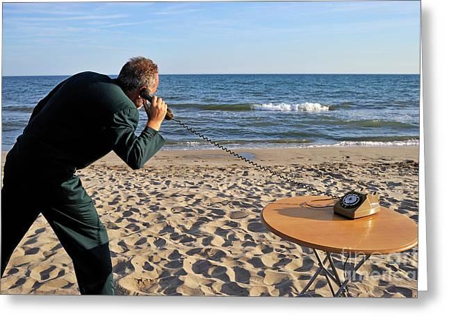Businessman On Beach With Landline Phone Greeting Card by Sami Sarkis