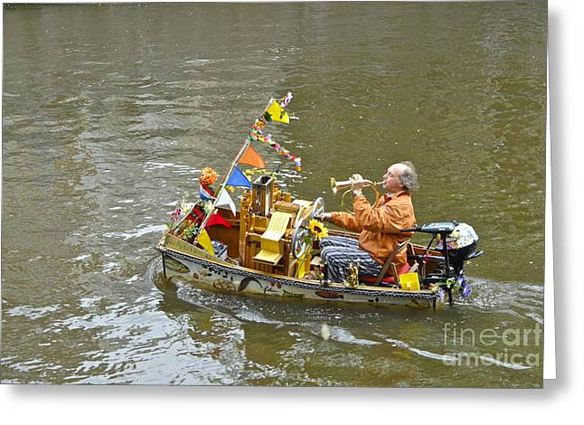 Busker On Canal Greeting Card by Ed Rooney