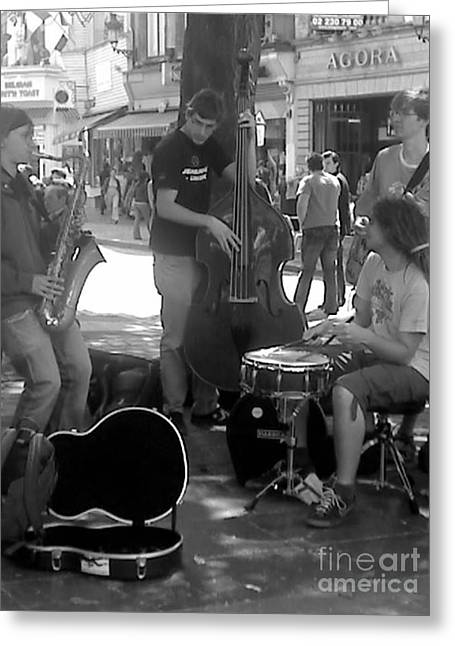 Busking Brussels Greeting Card by Jennifer Sabir