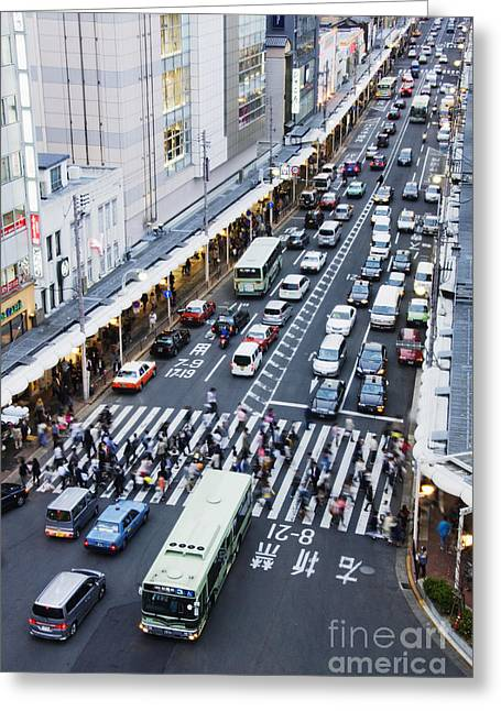Busy Downtown Street In Japan Greeting Card