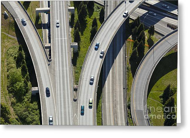 Busy Freeway Interchange Greeting Card by Don Mason