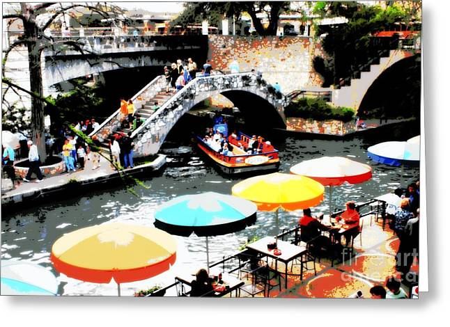 Busy San Antonio River Walk Greeting Card by Carol Groenen